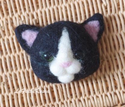 black needle felted kitten